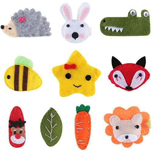 (10 Pack Bulk Mini Small Little Cute Cartoon Animal Felt Hair Bow Clips Barrettes Alligator Lined Snap Ribbon Pigtail Holder Flower Head Boutique Fancy Accessories for Baby Infant Toddler Kids Girl )