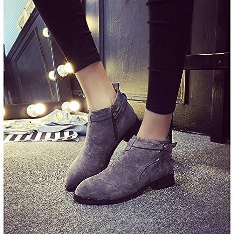 SHOESHAOGE Zapatos Confort para Mujer Gamuza Otoño E Invierno Botas Casual Botines Chunky con Punta Redonda Botines/Botines Hebilla Negro/Gris Oscuro/Verde: ...