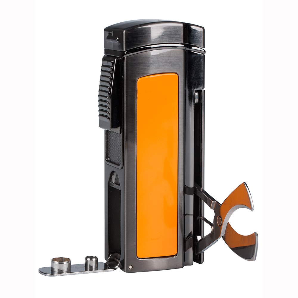 Windproof Cigar Lighter 4 Torch Metal Gas Cigarette Butane Lighter Jet Blue Flame Refillable Lighter with Two Punch