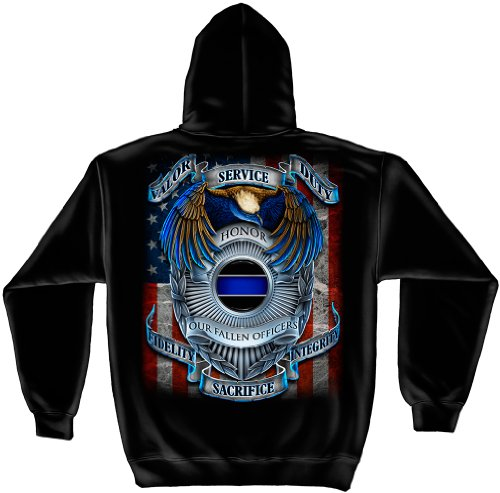 Law Enforcement Hooded Sweatshirt, 100% Cotton Casual Men's Shirts, Show Your Pride with our Honor Our Fallen Officers Long Sleeve Sweatshirts for Men or Women (XX-Large)]()