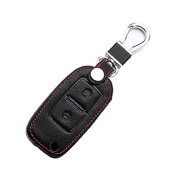 Happyit Cuero Casos de la Cubierta de la Llave del Coche Llavero para VW Volkswagen Amarok Polo Golf 4 5 6 MK4 Bora Jetta 2 Botones