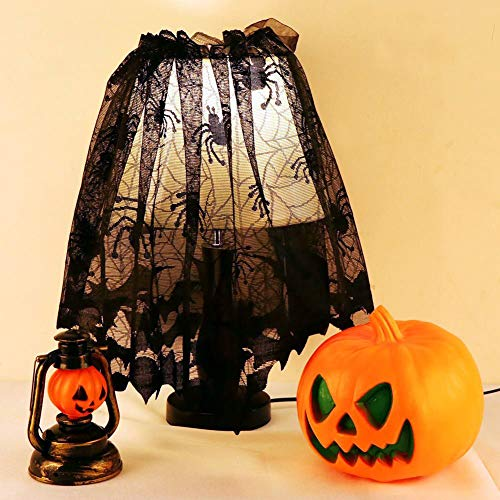 Halloween Spider Bat Web Decoration Lace Lampshade Topper Fireplace Mantle Scarf Window Curtain Ribbon Halloween Parties, Décor & Spooky Meals, Black 20x60 Inch -
