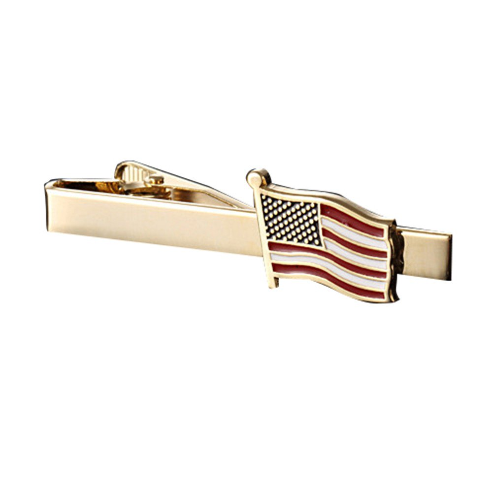 MGStyle Tie Bar Pinch Cilp For Men - 2.16 Inch For Regular Ties - the Old Glory Stars & Stripes American Flag - Gold Tone - Stainless Steel with Deluxe Gift Box by MGStyle (Image #2)