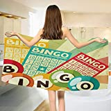 Chaneyhouse Vintage,Baby Bath Towel,Bingo Game with Ball and Cards Pop Art Stylized Lottery Hobby Celebration Theme,Print Wrap Towels,Multicolor Size: W 10'' x L 39.5''