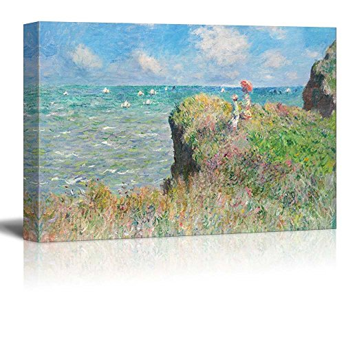 (wall26 - Claude Monet - Cliff Walk at Pourville - Impressionist Modern Art - Canvas Art Home Decor - 24x36 inches)