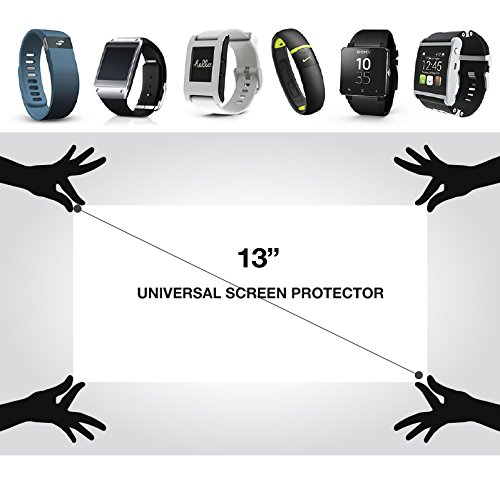 """RED SHIELD Universal Screen Protector 13"""" for Tablet, Smartphone, Smartwatch, Gaming Device, and GPS. High Definition Crystal Clear Anti-Scratch, Anti-Fingerprint Film. Easy to Cut with Guidelines."""