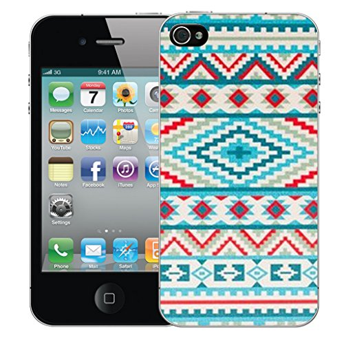 Mobile Case Mate iPhone 4 Silicone Coque couverture case cover Pare-chocs + STYLET - Green Aztec pattern (SILICON)
