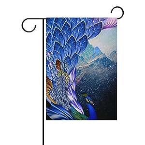 Banderas Decorativas para exterior doble cara Bienvenido jardín bandera con diseño hermoso pavo real para Patio Banderas al aire libre banderas
