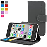 iPhone 5C Case, SnuggTM - Grey Leather Wallet Cover and Stand with Card Slots & Soft Premium Nubuck Fibre Interior - Protective Apple iPhone 6 Flip Case - Includes Lifetime Guarantee