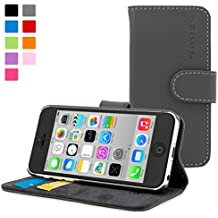 iPhone 5C Case, Snugg Grey Leather Flip Case [Card Slots] Executive Apple iPhone 5C Wallet Case Cover and Stand - Legacy Series
