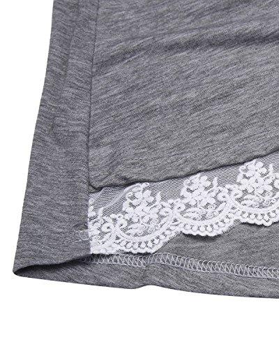 Femmes Styledome Chemises À Manches Longues Sexy Casual Tops Blouses En Vrac Tunique Solide Dentelle Col Rond Ourlet Robes T-shirt Gris