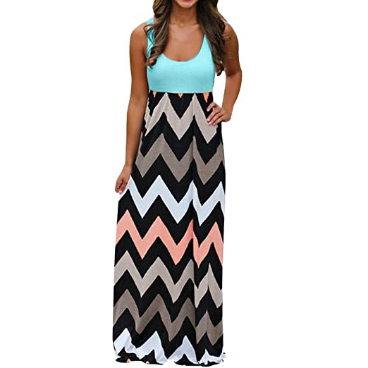 6b7ee0e0ff ZOMUSA Clearance Women's Plus Size Striped Long Boho Beach Summer Maxi  Sundress (XXXL, Green
