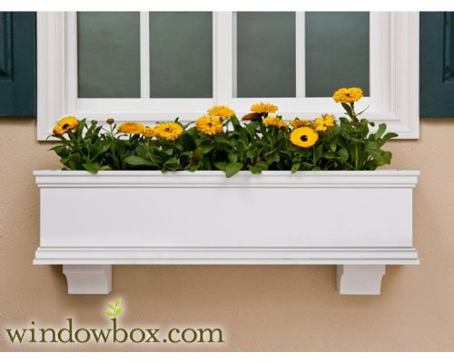 72 Inch XL Lancaster Premier No Rot PVC Composite Flower Window Box w/ 2 Decorative Brackets by Windowbox