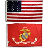 U.S. Embroidered American Flag & Printed USMC Marine Corps Official Military Banner Both 3x5 Ft. All Weather 200 Denier #1 Quality Nylon by Licensed Manufacturer 100% Made in USA