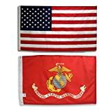 Cheap U.S. Embroidered American Flag & Printed USMC Marine Corps Official Military Banner Both 3×5 Ft. All Weather 200 Denier #1 Quality Nylon by Licensed Manufacturer 100% Made in USA