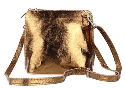 para mujer cobre Piel Girly cruzados Handbags de y metálico Bolso WczqWX6F