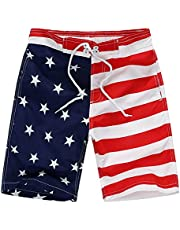 Wrrkayly Toddler Baby Boy American Flag Swim Trunks 4th of July Drawstring Star Stripe Beach Shorts Independence Day Clothes