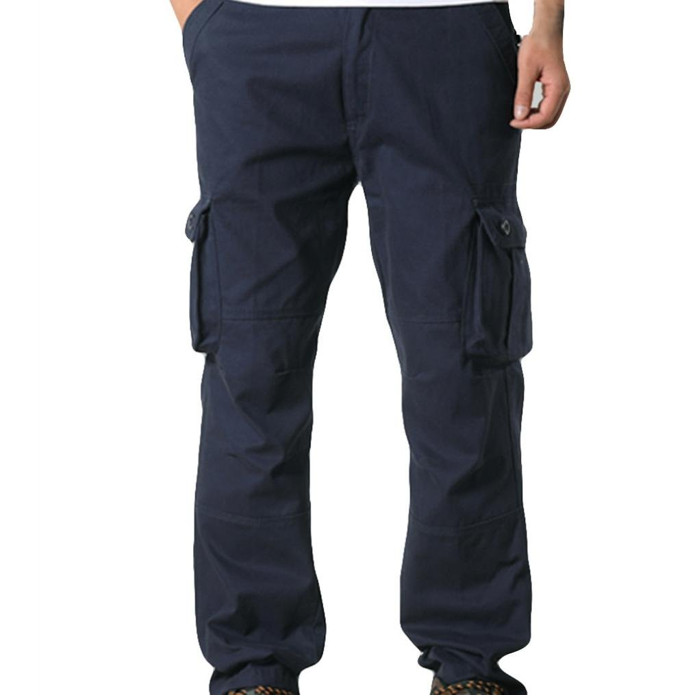 2018 New Sale!Men Pocket Overalls Casual Pocket Sport Work Casual Trouser Pants(Navy, 34)