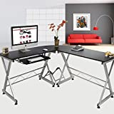 FCH L Shaped Desk Wooden Corner Desk Home Office Computer Desk with Keyboard Tray&CPU Stand,Black 59.05'' L x 55.12''W x 29.92'' H