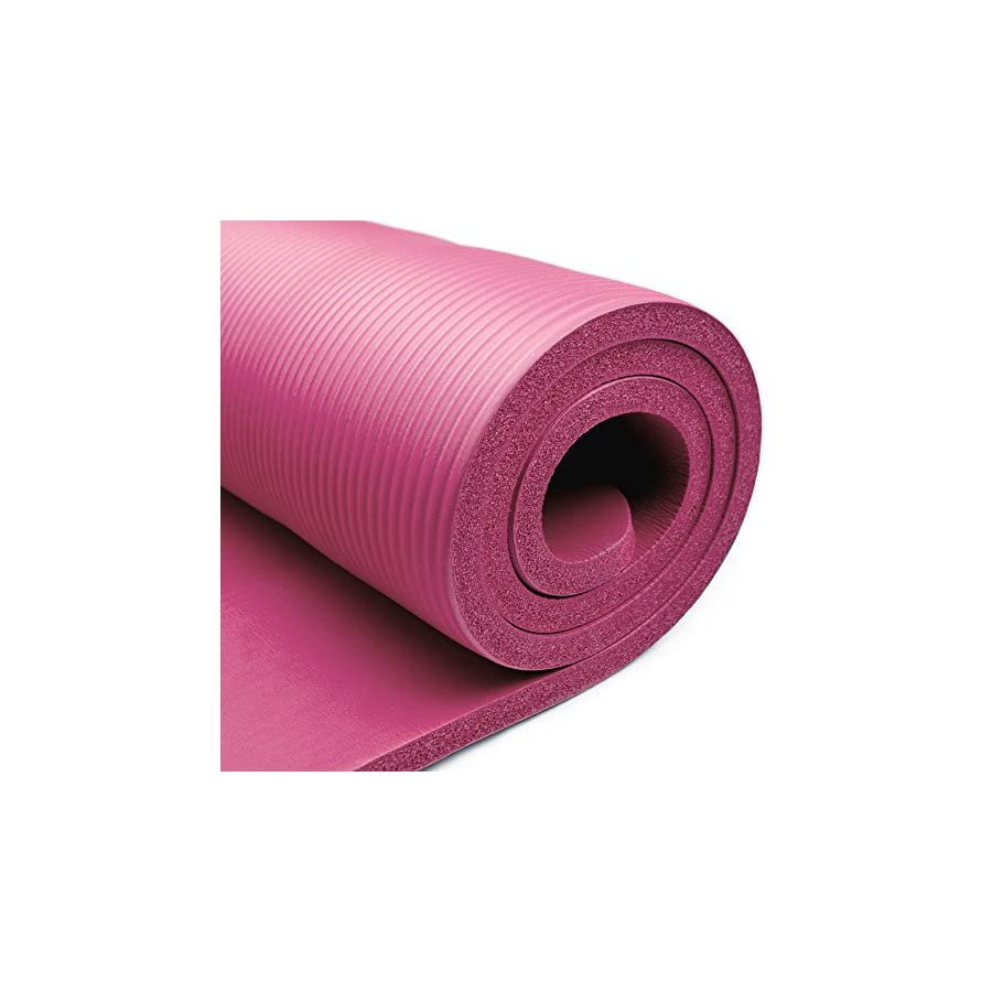 Crown Sporting Goods 5/8 Inch Extra Thick Yoga Mat with No Stick Ridge
