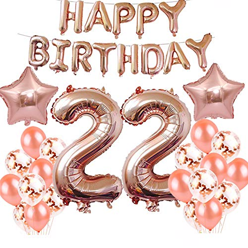 22nd Birthday Decorations Party Supplies, 40 Inch rose gold foil balloons