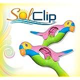 Beach Towel Clips, pegs, clothespins, clamps, épingles, pinces à serviette de plage, SolClip Canada, Pink Parrot