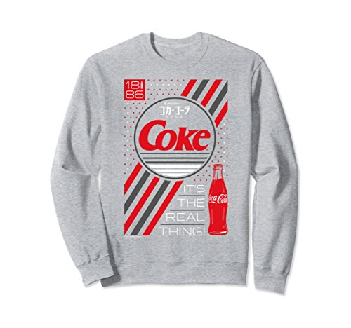 Real Logo Sweatshirt (Unisex Coca-Cola Dots Japanese Logo The Real Thing Sweatshirt Medium Heather Grey)