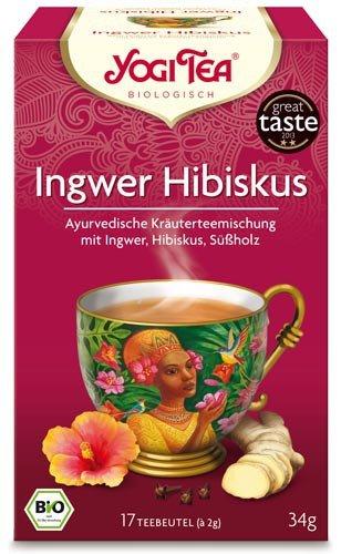 Yogi Tee, Ingwer Hibiskus Ayurvedische Teemischung, Biotee, 17 Teebeutel, heiß & kalt, Zutaten aus kontrolliert ökologischem Anbau, 30,6g