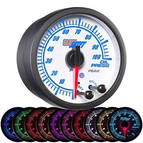GlowShift White Elite 10 Color 100 PSI Oil Pressure Gauge Kit - Includes Electronic Sensor - White Dial - Clear Lens - Peak Recall Function - for Car & Truck - 2-1/16