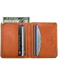 Luggage Depot USA, LLC Tony Perotti Italian Leather Slim Front Pocket Bifold Weekend Wallet, Honey