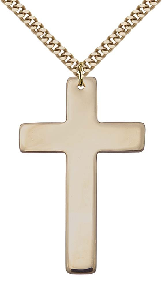 14kt Gold Filled Cross Pendant with 24'' Gold Plated, Stainless Steel Heavy Curb Chain.