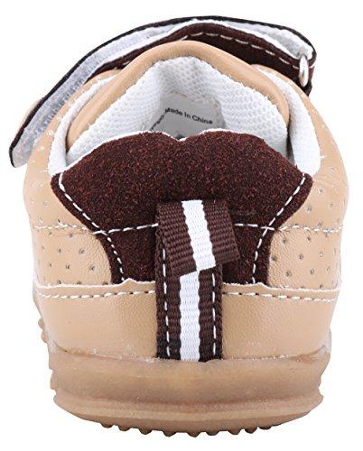 LONSOEN Baby Boys and Girls Anti-Slip Walking Shoes Toddler Athletic Sneaker BAY001 Brown CN19 by LONSOEN (Image #5)