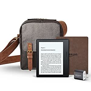 """Kindle Oasis Travel Bundle including Kindle Oasis 6"""" E-Reader, with Special Offers, Amazon Premium Walnut Cover, Power Adapter, and free caseable Travel Bag in Black/Grey"""