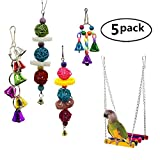SALICO Bird Swing Toys,Pet Parrot Swing Hammock with Colorful Beads Bells and Hanging Bell Toy for Small Medium Birds Parakeet Decorative Accessories(5 Pack)