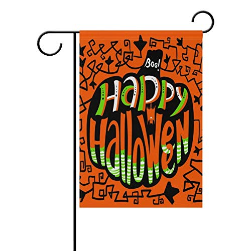 Raininc's Quote Happy Halloween Pumpkin Garden Flag 12 X 18 Inches, Double Sided Outdoor Yard Yall Garden Flag for Wedding Party House Home Decor -