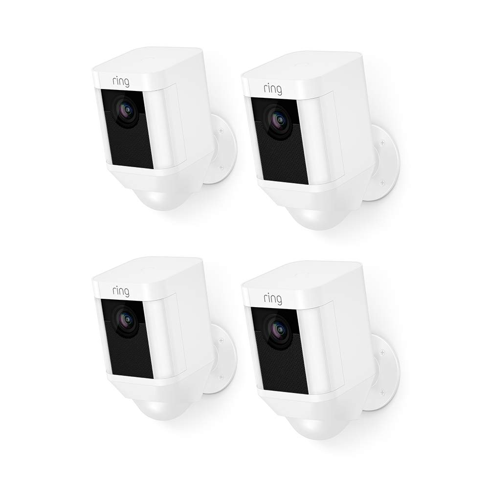 Ring Spotlight Cam Battery HD Security Camera with Built Two-Way Talk and a Siren Alarm, White, Works with Alexa - 4-Pack