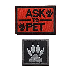 well-wreapped Ultrafun Service Dog Hook & Loop Fastening Tape Patch for Pet Harness Vest - 2 X 3 Inches - Set of 2