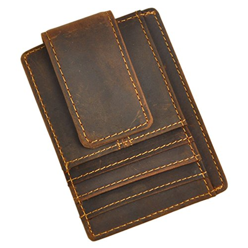 Brown Embossed Leather Money Clip - Le'aokuu Genuine Leather Magnetic Front Pocket Money Clip Slim Wallet Card Case (Dark Brown)