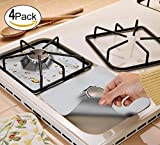 """Moonvvin Gas range protectors, Stove Burner Covers 0.2 mm Double Thickness, Reusable, Non-Stick, Fast Clean Liners for Kitchen/ Cooking (10.6"""" x 10.6"""")-4pack"""