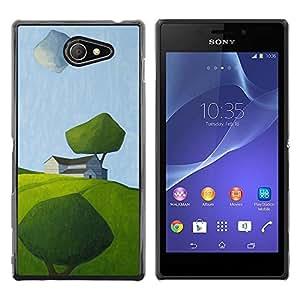 Be Good Phone Accessory // Dura Cáscara cubierta Protectora Caso Carcasa Funda de Protección para Sony Xperia M2 // Modern Art Painting Green Field Summer