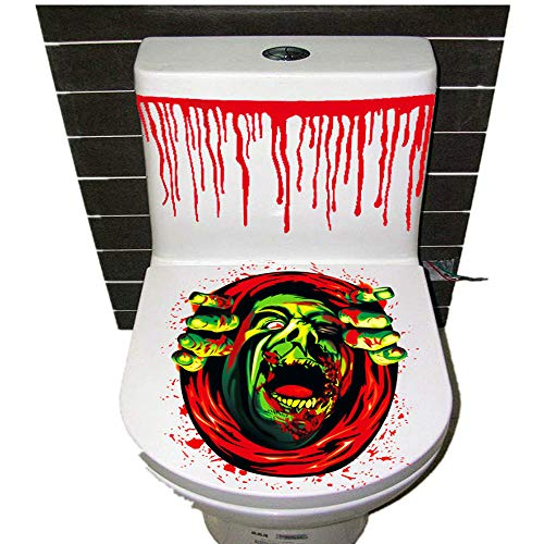Halloween Decor Clearance KIKOY Thriller Theme Toilet Cover Party Decoration Sticker Prop