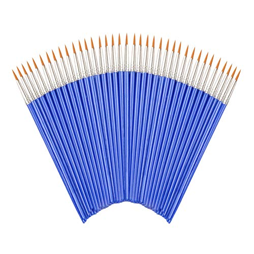 Flat Paint Brushes Set,50 Pcs Art Paintbrushes for Kids/ Artists/Painters/Beginners/Students ,Short Plastic Handle,Nylon Hair Brushes for Acrylic Oil Watercolor Art Painting (Round#1(Large))
