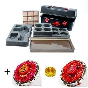 Hongy - Caja de conservación para peonzas luchadoras (incluye Dark Cancer, Dark Bull y complemento para girar)