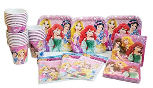 Disney Princess Party Pack. Contains 24 Disney Princess Plates, 24 Disney Princess Cups, 24 Disney Princess Party Invitations, 32 Disney Princess Party Lunch Napkins. Bundle of 11.