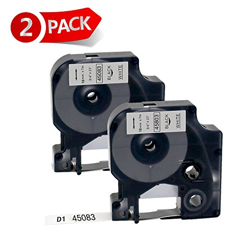 MARKLIFE 2 Pack D1 Labeling Tape Compatible for DYMO D1 45083 LabelManager LabelWriter Label Makers 19mm 3/4'' W x 23' L, Black Print on White Label Tape, 2 cartridge (45083)