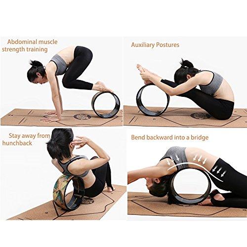 A-Flower Rueda de Yoga Rueda de Ejercicio Dharma 32 x 12,5 cm para Estirar más Profundo con Correa y guía de Instrucciones