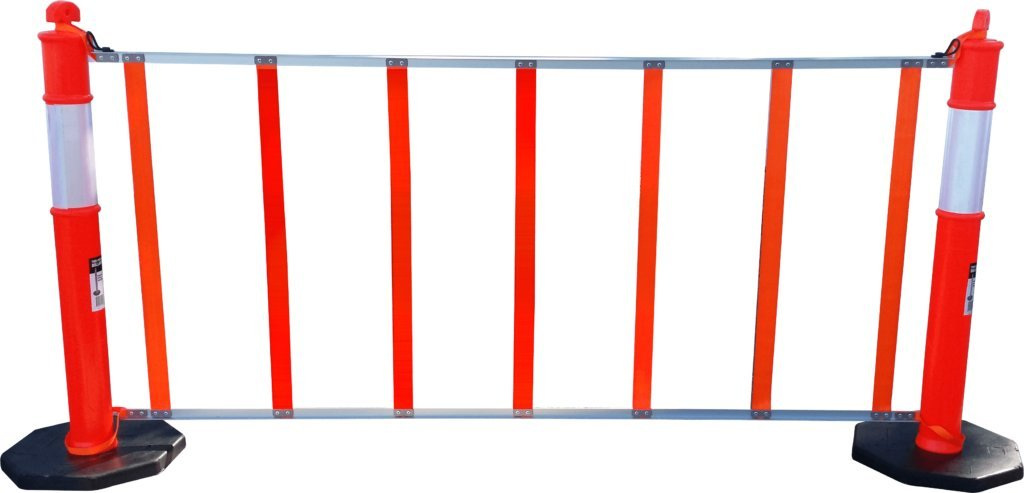 R U F Portable Pedestrian Safety Barrier, 6'6'' Roll Up Fence, Delineator Posts Sold Separately