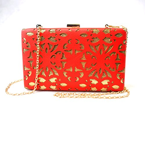 Made C Party Wedding red Wallet Bridal Laser bag Evening Purse Hand clutch Cut Y zRpdd
