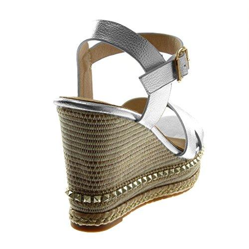 Tacco Angkorly Zeppa Borchiati Espadrillas Scarpe Sandali cm 5 Lucide Corda Piattaforma Zeppe Moda 10 Argento Donna wfpzw