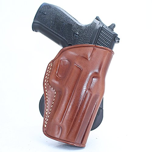 Premium Leather Paddle Holster, Sig P226 X Five/P220/P227/P224/P228/P229/P225/P239/P250/P290 Pro 2340,2022/Sig 22 LR, Right Hand Draw (Brown, SIG P226 W/Rail)